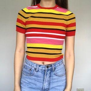 NWOT Zara stripe rainbow crop top